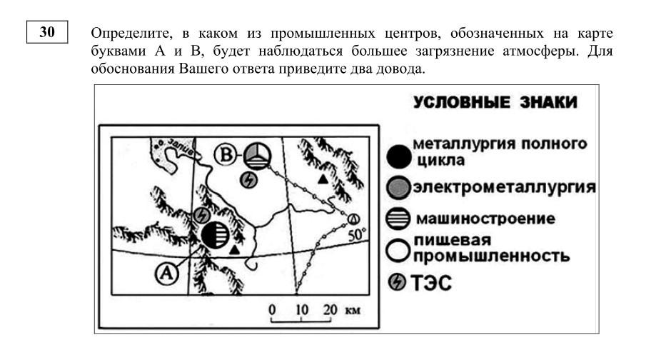 Пример 30 задания демонстрационного варианта ЕГЭ по географии